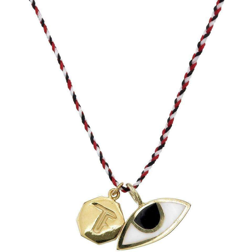 WOVEN STRING NECKLACE- TRIDATU/ EYE - GOLD