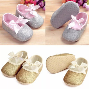Sequin Bow Crib Shoes