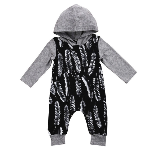 Feather Hooded Jumpsuit