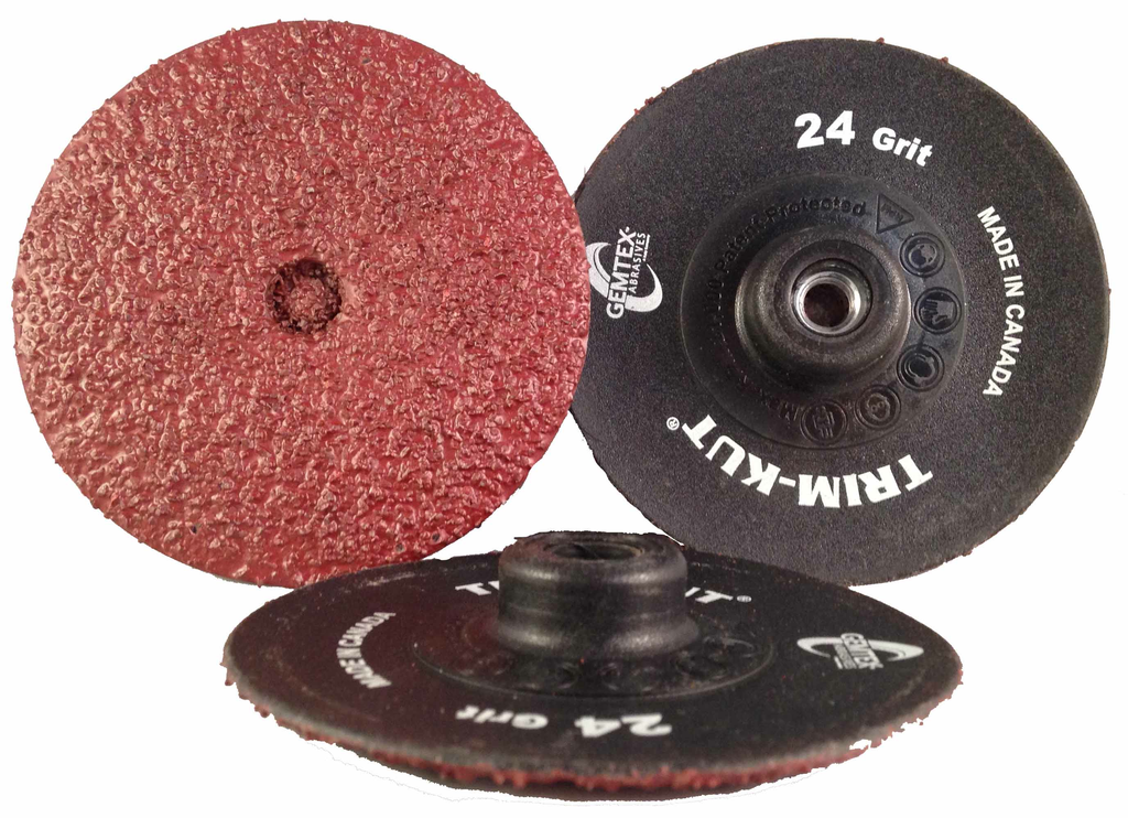 "Gemtex Trim Kut® 3"""" Aluminum Oxide Discs - Each package of 25 includes a 921 (1/4"""" Hex) Mandrel. White Print 24 25Pk"