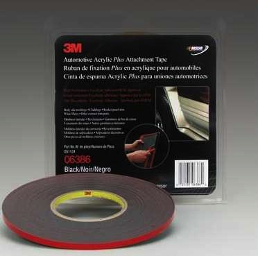 3M™ Automotive Acrylic Plus Attachment Tape 06386, Black, 1.12 mm