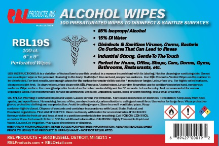 RBL 85% INDUSTRIAL GRADE ALCOHOL WIPES - CANISTER/100PCS