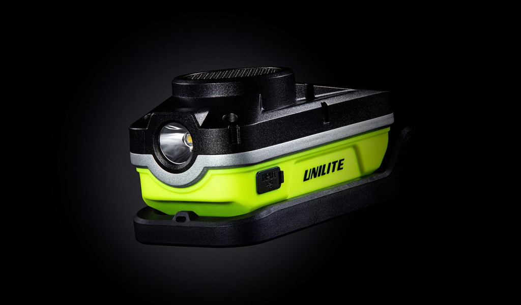 Unilite 750 LUMEN COMPACT WORK LIGHT WITH 300 LM TOP TORCH AND FOLDING MAGNETIC HANDLE/STAND/HOOK - 3.7v 5200mAh LI-ION INTEGRAL BATTERY - WITH BLUETOOTH SPEAKER