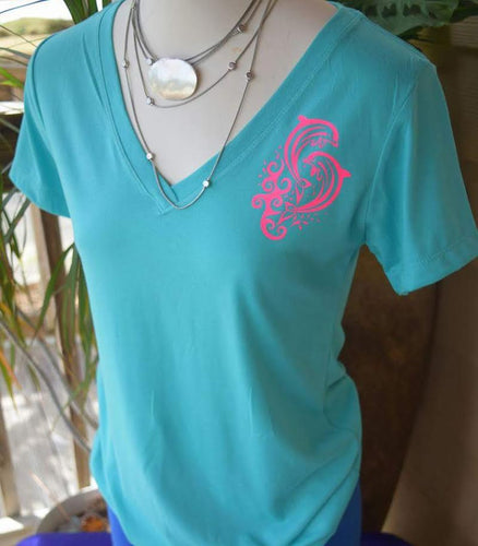 Dolphins- Ladies V-Neck Top