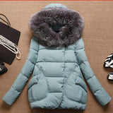 Women Fur Hood Cotton Padded Coat Parkas For Women Winter Casaco Abrigos Mujer Jaqueta Feminina Z002
