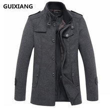 Load image into Gallery viewer, Men's fashion leisure Men's thicking trench coat woollen overcoat men single  breasted coat jackets windbreaker