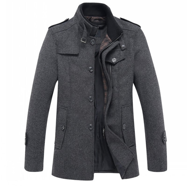 Men's fashion leisure Men's thicking trench coat woollen overcoat men single  breasted coat jackets windbreaker