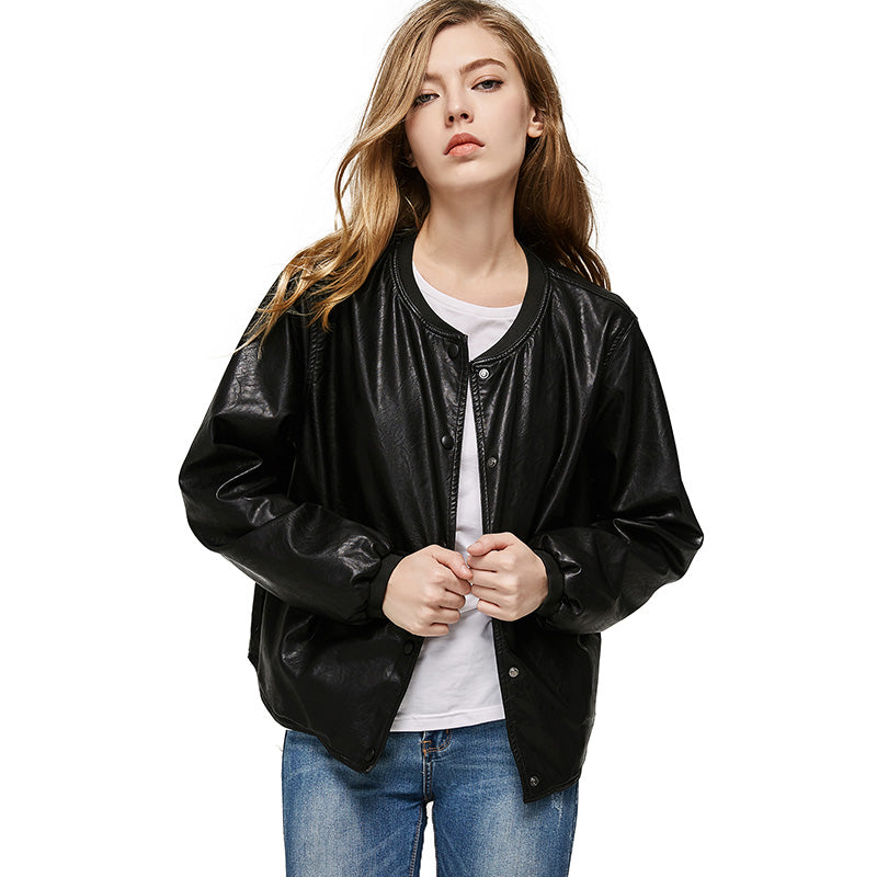 2017 Autumn Leather Jacket Women Casual Long Sleeve Button Slim Coat Fashion PU Leather Bomber Jacket Femininas