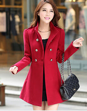 Load image into Gallery viewer, Winter Women A-line Skirt Coat Double Breasted Slim Medium-Long Solid Color Trench Coats Female Jackets