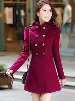 Winter Women A-line Skirt Coat Double Breasted Slim Medium-Long Solid Color Trench Coats Female Jackets