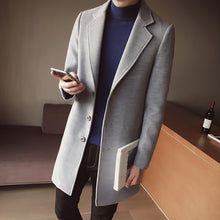 Load image into Gallery viewer, Britsh Style Trench Coat Men Slim Wool Coats Turn Collar Single Button Jackets Mens Overcoat Khaki Dark Grey 5XL4XL