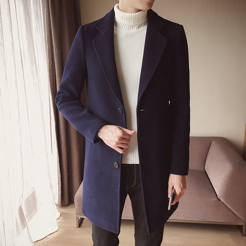 Britsh Style Trench Coat Men Slim Wool Coats Turn Collar Single Button Jackets Mens Overcoat Khaki Dark Grey 5XL4XL