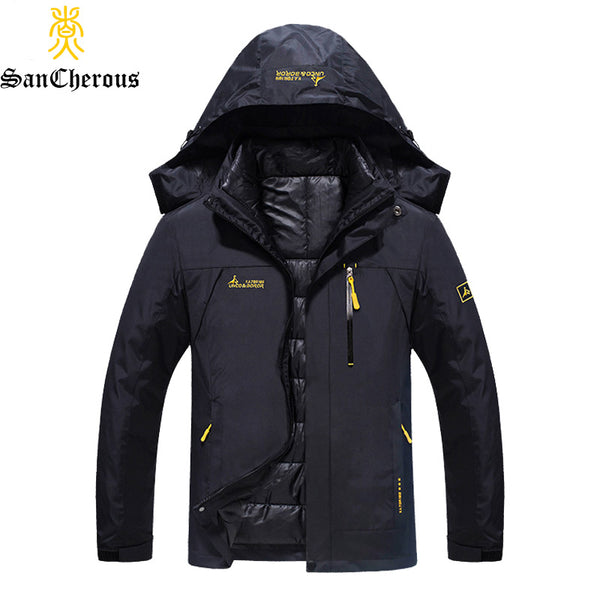 2017 Plus Size 9 Colors Waterproof  Winter Jacket Men Warm 2 in 1 Parkas Windproof Detachable Hood Winter Coat Size L-6XL