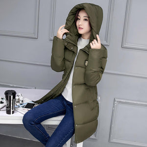 2017 Winter Jacket Women Hooded Thicken Coat Female Fashion Warm Outwear Down Cotton-Padded Long Wadded Jacket Coat Parka C3490