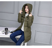 Load image into Gallery viewer, 2017 Winter Jacket Women Hooded Thicken Coat Female Fashion Warm Outwear Down Cotton-Padded Long Wadded Jacket Coat Parka C3490