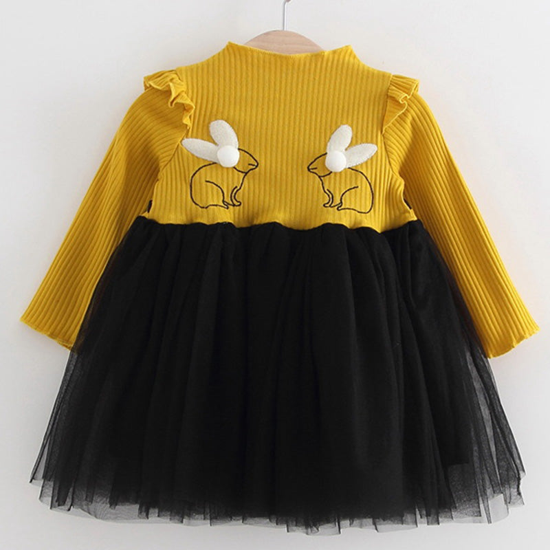 2018 New Brand Baby Dresses Long Sleeve Rabbit embroidery Party Prom Lace Bebes Girls Clothes Fashion Toddler Clothing