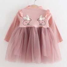 Load image into Gallery viewer, 2018 New Brand Baby Dresses Long Sleeve Rabbit embroidery Party Prom Lace Bebes Girls Clothes Fashion Toddler Clothing