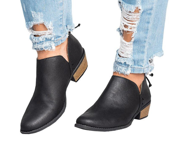 2018 Spring Autumn Women Butterfly-knot Chelsea Boots Slip-On Med High Heels Pointed Toe Shoes Woman