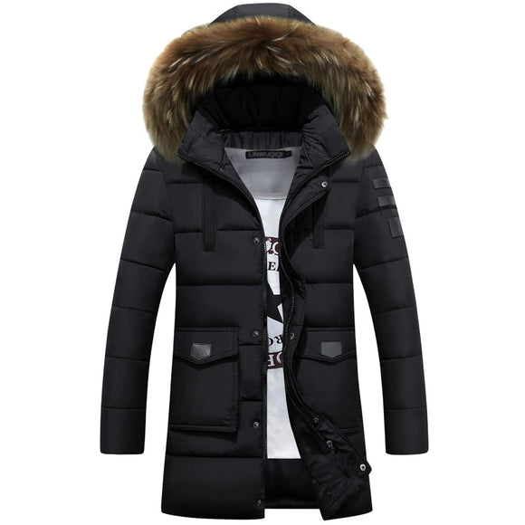 -45 Degree Temperature Parka Men Cotton Padded Long Thick Warm Casual Winter Jacket Men With Raccoon Dog Fur Collar