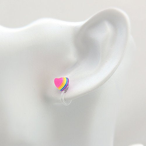 Rainbow Heart Earrings on Invisible Clip On Backs for Non-Pierced Ears