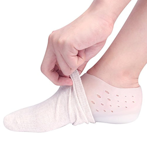 1 Inch Height Increase Insole - Invisible Heel Lift Pads - Silicone Gel Inserts Socks for Men & Women with Holes