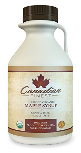 CANADIAN FINEST Maple Syrup | #1 Rated Maple Syrup on Amazon - 100% Pure Certified Organic Maple Syrup from Family Farms in Quebec, Canada - Grade A Dark (Formerly Grade B),16.9 fl oz (500mL)