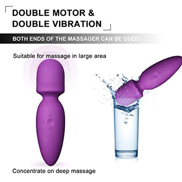 Wand Massager Handheld Cordless with 5*5 Vibration&Speeds Patterns, Fovel Therapeutic Vibrating Body Massager With Powerful Motor- Perfect for Muscle Aches and Personal Sports Recovery Waterproof Rechargeable(Purple)