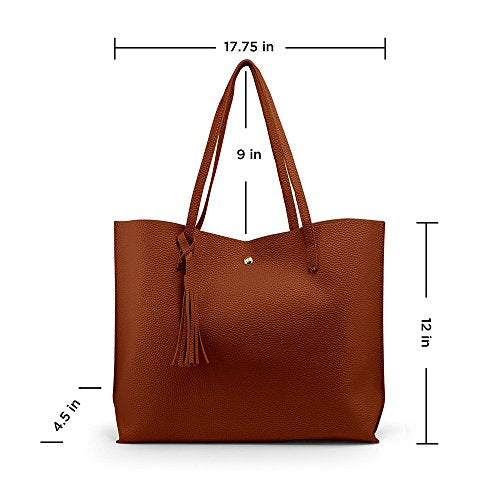 c1be7f6e7a4 Oct17 Women Large Tote Bag - Tassels Faux Leather Shoulder Handbags ...