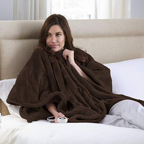 Serta Snuggler Electric Heated Cape/Throw Blanket, Chocolate