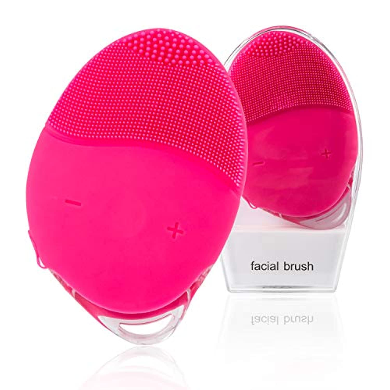 Facial Cleansing Brush, H/E Waterproof Portable Electric Cleanser, Rechargeable Sonic Silicone Face Scrub Device, Face Massage Brush for all Skin Type (Rose)
