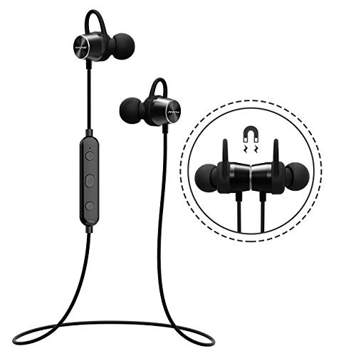 Bluetooth Headphones, [Upgraded] Mpow Judge Magnetic Bluetooth Earbuds, IPX7 Sweatproof Magnetic Stereo Bluetooth Earphones Wireless Sports Earbuds Headset Inline Control with MIC for Running, Jogging, Workout (3 Ear Hooks, 3 Ear-tips and Carrying Case In
