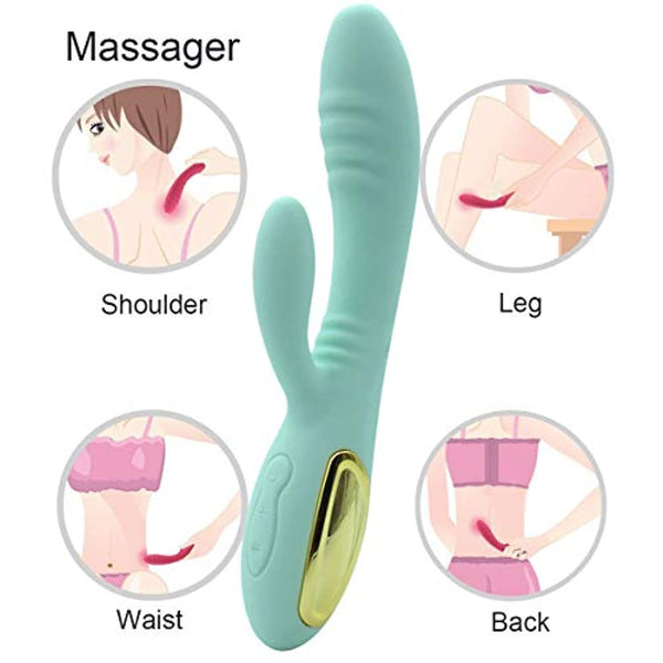 Powerful Ripple Rotating Massager,Always One Option Fit For You& 10-Speeds Vibrating Silicone Waterproof (Light Green)