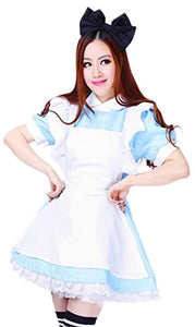 Women's Blue Anime Cosplay French Maid Costume Dress