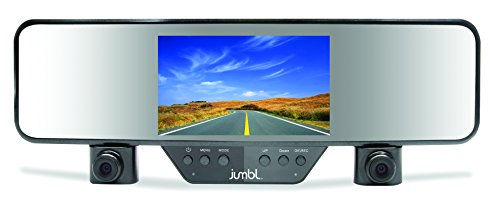 "Jumbl Car Rear View Mirror & Dual Camera HD 1080p Dash Cam, Clips on Easily & Firmly to Existing Mirror, Dashcam for Vehicle Interior & Exterior DVR Accident Recording, 4.3"" LCD, G-Sensor, 120° FOV"