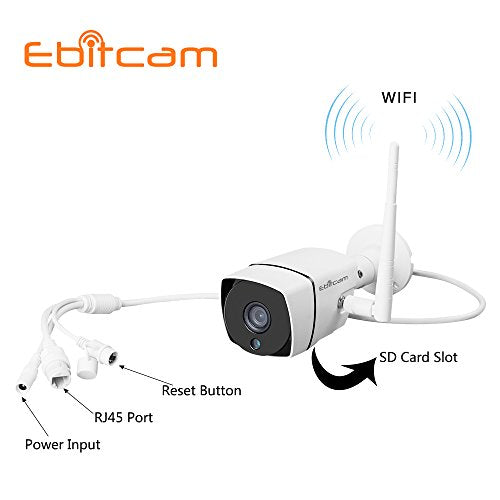 Ebitcam Wifi HD Outdoor Security Bullet Camera,Home Surveillance Camera, IP66 Weatherproof, Night Vision, Motion Detection Push Alerts,Linkage Snapshot/Video Recording,Smooth Real-Time Picture 720P