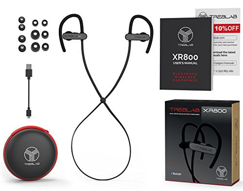 TREBLAB XR800 Bluetooth Headphones, Best Wireless Earbuds for Sports, Running Or Gym Workouts. 2018 Best Model. IPX7 Waterproof, Sweatproof, Secure-Fit. Noise Cancelling Earphones w/Mic (Graphite)