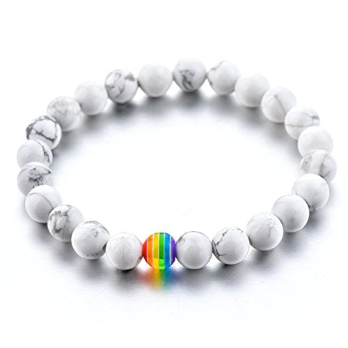 LGBT Relationship Bracelet | 2 Pieces | White Howlite, Black Lava Rock, Rainbow Resin | Oil Diffuser Beads | Gay Couples Strong Cord | Handmade | Love is Colorful