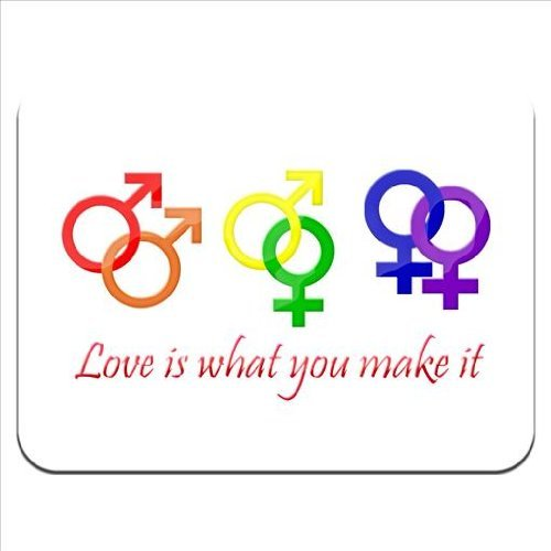 Love Is What You Make It Gay Straight Lesbian Gender Symbols Premium Quality Thick Rubber Mouse Mat Pad Soft Comfort Feel Finish