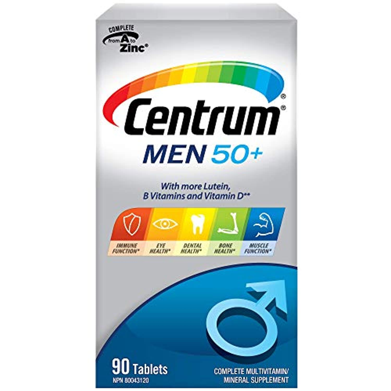 Centrum Men 50+ (90 Count) Multivitamin Multimineral Supplement Tablet, Vitamin B, Age 50 and older