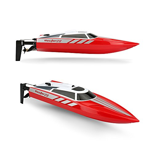 Funtech Radio Controlled 2.4GHz High Speed 20MPH Electric RC Boat for Pools Bathtubs Lakes, Red