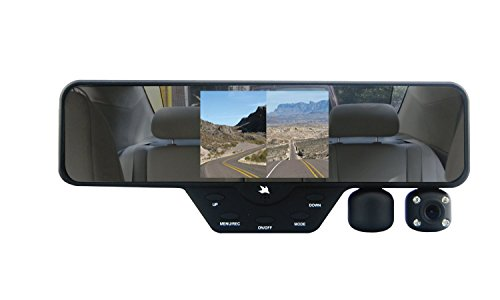Falcon Zero F360 HD DVR Dual Dash Cam, Rear View Mirror, 1080p, SD Card Included (Black)