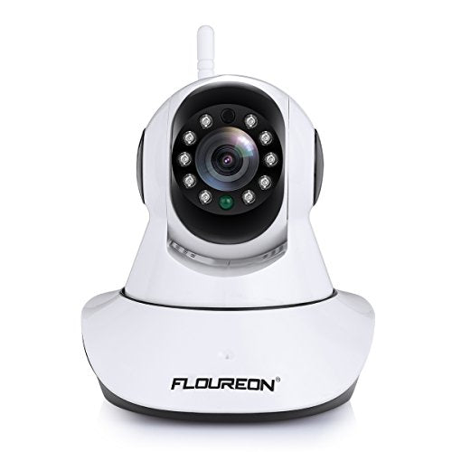 FLOUREON 720P Wireless Security IP WIFI Camera Pan/Tilt Baby Pet Monitor Cams 2.4GHZ Network P2P Night Vision Motion Detect Phone APP Control for Remote Access and View /Video Record (Black)
