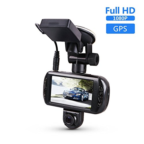 Dash Cam with GPS , BLUEPUPILE 1080P 3 Inch Dual Car Camera 170°View Angle,Portable Car Dash Camera Recorder ,Suit for Uber Driving ,Taxi Driving ,Suport 64G