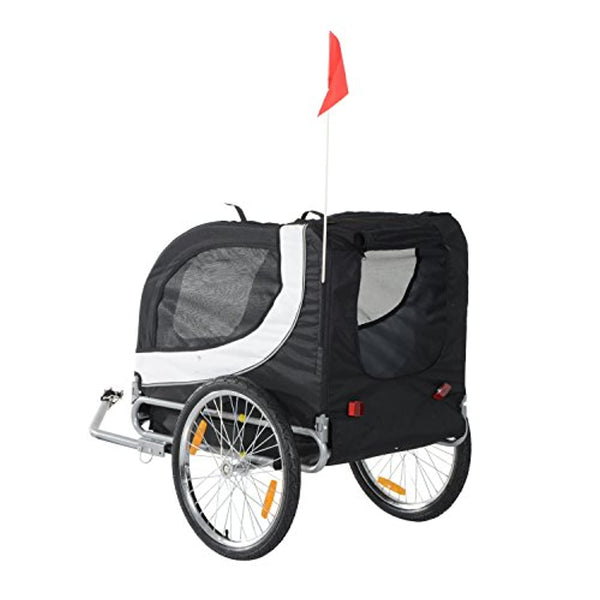 PawHut Pet Bike Trailer Bicycle Dog Cat Carrier Travel Carrier Folding Black