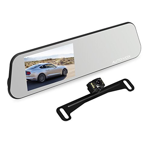 AUTO-VOX M6 Mirror Dash Cam Touch Screen Car Driving Recorder 4.5'' IPS 1080P with Waterproof Backup Camera IP 68, LED Superior Night Vision,Loop Recording, and Motion Detection …