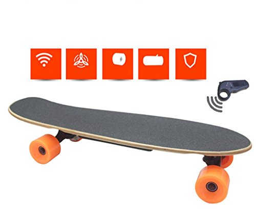 Remote Control Skateboard,GZD Electric Four - Wheel Scooter Seven Layers Of Northeast Maple PU Solid Round,Size 700 * 190 * 150mm,250W Motor, 15mph Top Speed,10km Range.