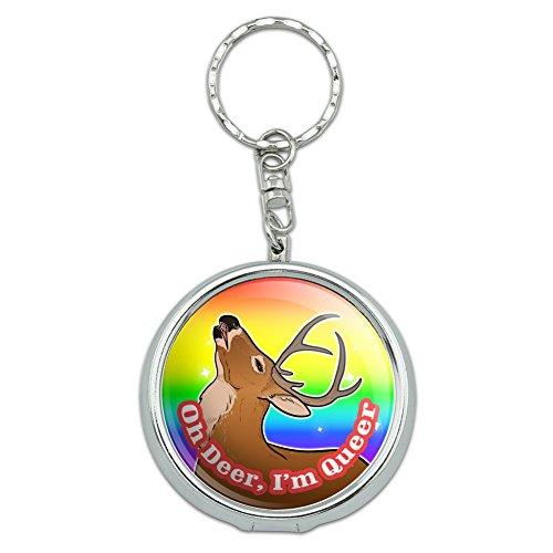 Oh Deer I'm Queer Rainbow Pride Gay Lesbian Funny Portable Travel Size Pocket Purse Ashtray Keychain with Cigarette Holder