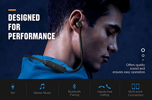 MoKo Bluetooth Headphones, Wireless Neckband Headset w/ Mic & Siri IPX5 Waterproof HD Stereo Sweatproof In Ear Earbuds 9 Hour Battery Hands-free Calls Sports Earphones, Black