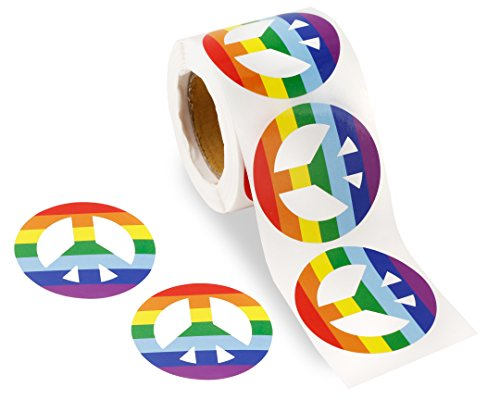Gay Pride Rainbow Stickers on a Roll - Hand Shaped (250 Stickers) - Support LGBT Causes