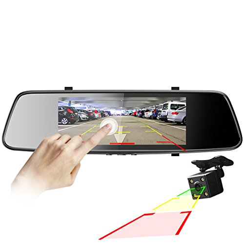 "Pruveeo D700 7"" Touch Screen Car Dash Cam Front and Rear Dual Channel, FHD 1080P"
